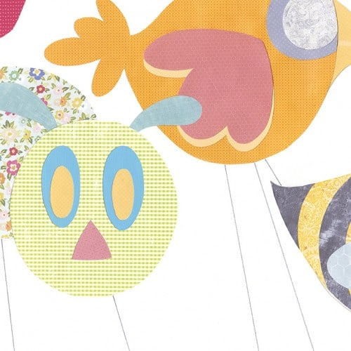 Skunk On A String, animals, caterpiller, bird, bee, cat, parade, balloons, skunk, collage, mix media, scrapbook paper